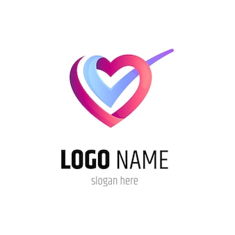 Heart and check logo design template
