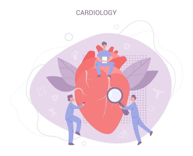 Баннер проверки сердца. идея лечения и диагностики болезней. доктор исследует сердце. кардиолог. в