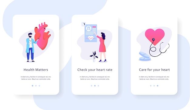 Концепция мобильного веб-баннера проверки сердца. идея здравоохранения