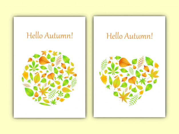 Heart and circle of autumn leaves in vector card