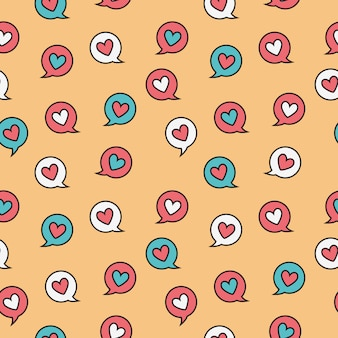 Heart circle  message doodle seamless pattern