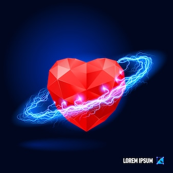 Heart circled with a blue electricity