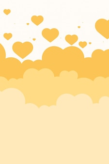 Heart above cloud yellow background