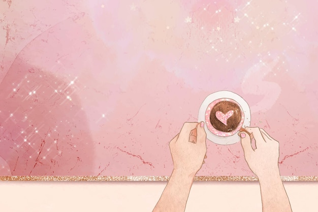 Heart coffee  pink glittery marble texture background
