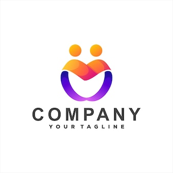 Дизайн логотипа градиента цвета сердца