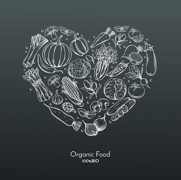 手描きの野菜と心の組成