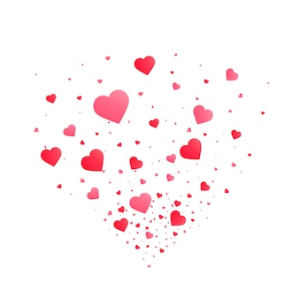 Heart confetti burst isolated. valentines day concept. heart shapes vector illustration