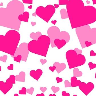 孤立したバレンタインデーの概念のハートの形が背景ベクトルfをオーバーレイするハート紙吹雪落下...