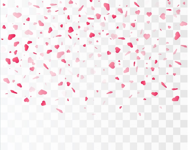 Heart confetti falling down isolated. valentines day concept. heart shapes