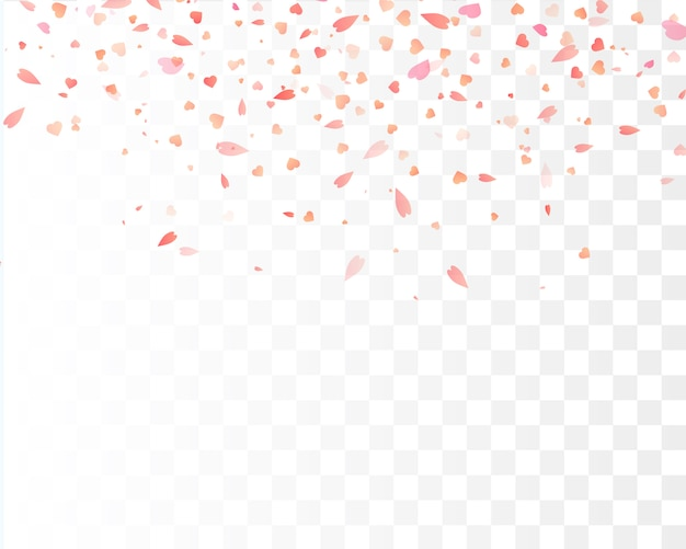 Heart confetti falling down isolated. valentines day . heart shapes