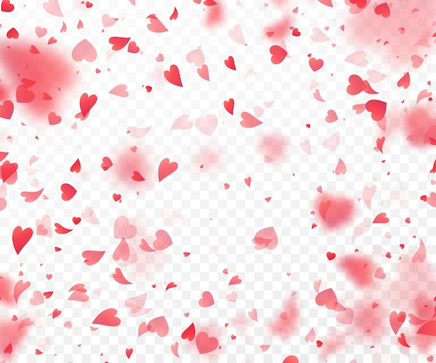 투명 한 배경에서 떨어지는 심장 색종이.