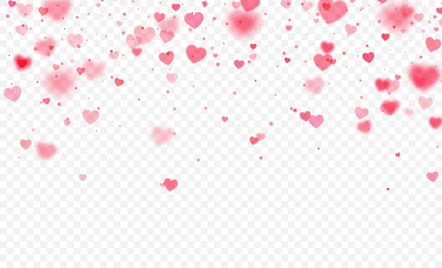 Heart confetti falling on transparent background. valentines day card