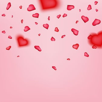 Heart confetti, happy valentines petals falling.