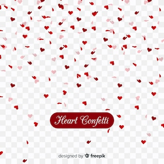 Heart confetti in transparent background