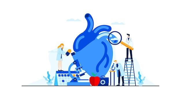 Плоская иллюстрация болезни сердца исследование доктора исследования для дизайна концепции лечения