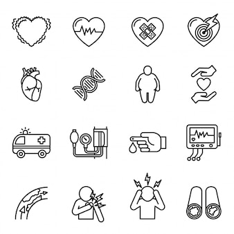 Heart disease, heart attack and symptoms icon set.