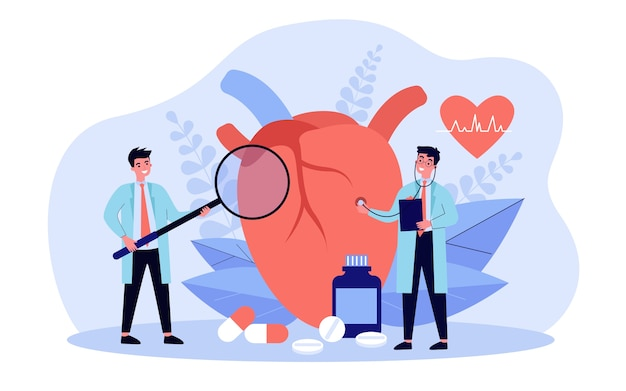 Heart disease research concept illustration