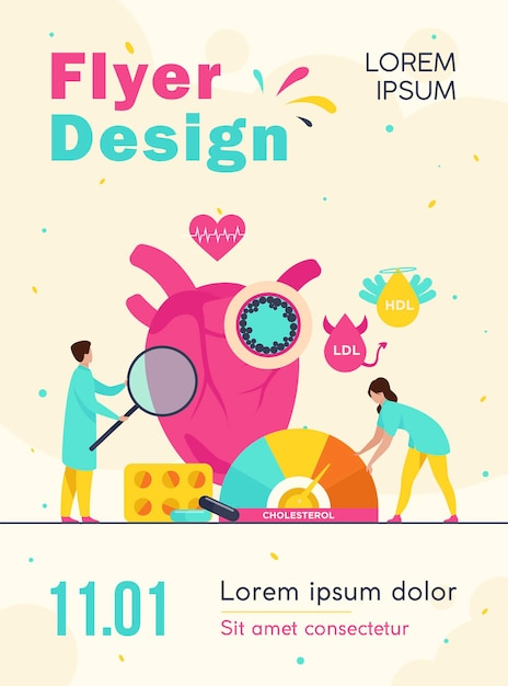 Heart disease risk concept flyer template