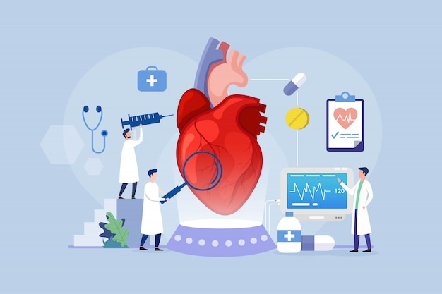 Heart disease treatment design concept with tiny people