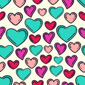 Heart doodle pattern background design