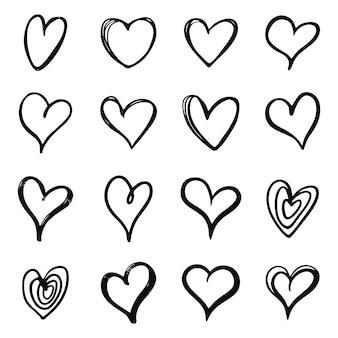 ハート落書きセット。手描きのハートコレクション。ロマンスと愛のイラスト。