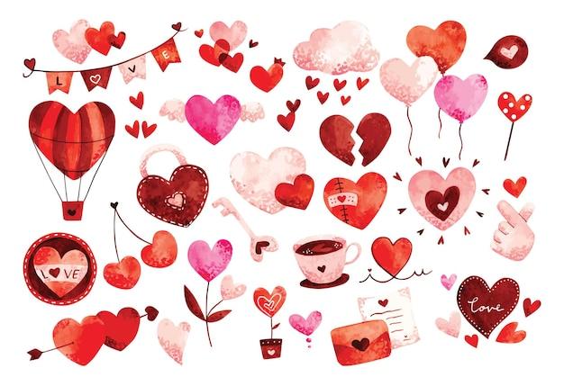 Heart doodles watercolor  , valentine's design element