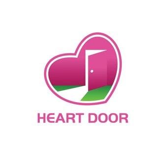 Heart door logo Premium Vector