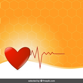 Heart electrocardiogram on orange background