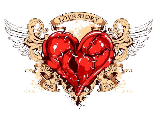 Emblema di cuore con nastri