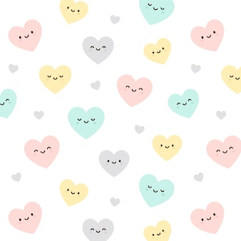 Heart emoticon seamless pattern background