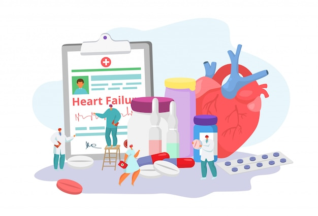 Heart failure desease with doctors, cardiogram, medication and medicine concept solution, tiny people character  illustration.