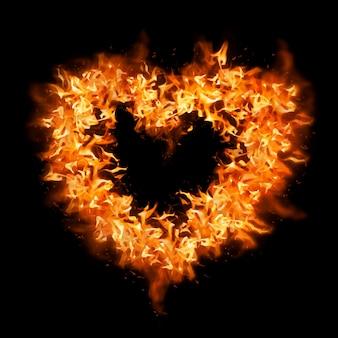 심장 불꽃 스티커, 오렌지 크리에이 티브 디자인 벡터