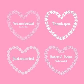 Heart floral frames for wedding invitations on pink