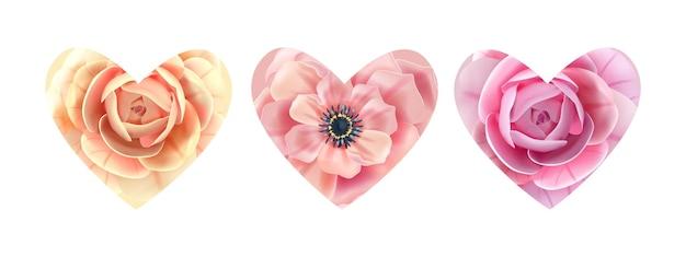심장 꽃 꽃 사랑 발렌타인 꽃 장미, 말미잘 흰색 절연으로 설정합니다. 휴일 로맨틱, 웨딩 식물 디자인 요소. 발렌타인 하트 모양의 봄 컬렉션