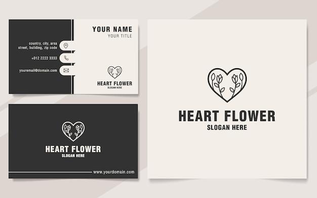 Heart flower logo template on monogram style