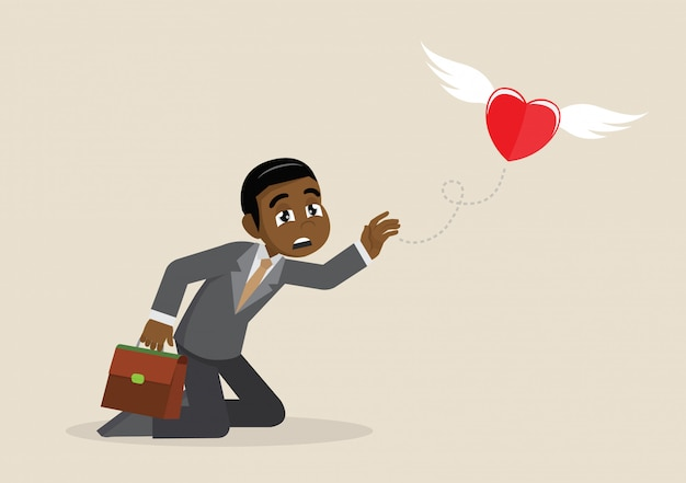 Heart fly out of african businessman.
