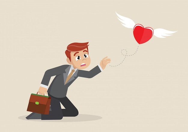 Heart fly out of businessman.
