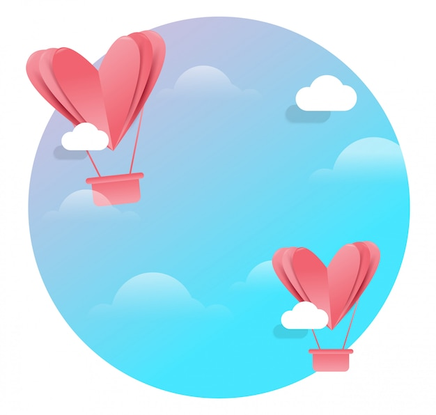 Heart flying on blue background. concept background of love, valentine's day