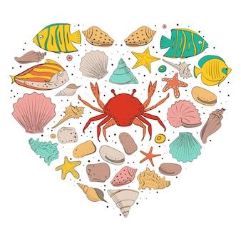 シェル、ヒトデ、落ち着いた、石のハートの形。海のビーチスタイルのデザインのベクトルを設定します。着色されたエキゾチックな貝殻と水中動物。