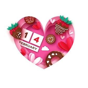 ハートフレーム。ストロベリーとチョコレート、ドーナツが大好きです。バレンタインデーのグリーティングカード。