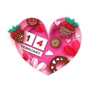 Heart frame. love strawberry and chocolate, donut. valentines day greeting card.