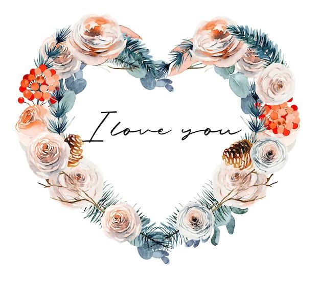 Рамка-сердце из акварельных старинных розовых роз, растений и ветвей эвкалипта