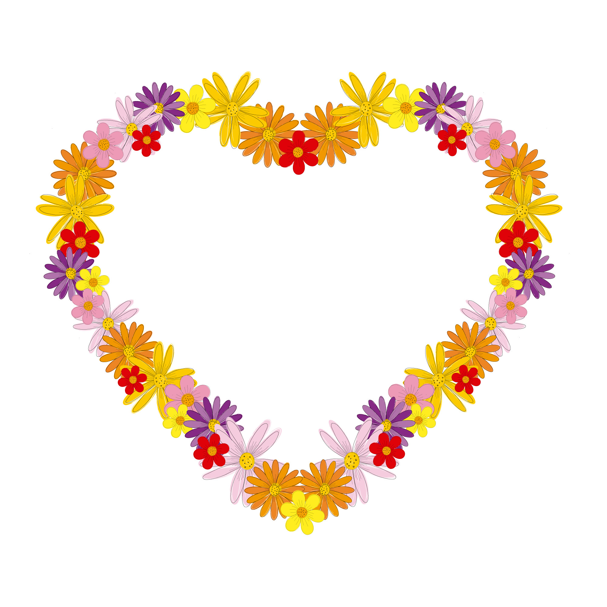 Heart frame with colorful flowers