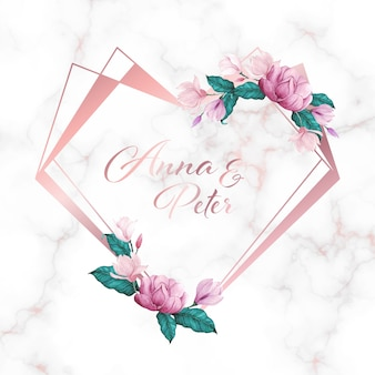 結婚式のモノグラムのロゴと招待状カードの大理石の背景に花とハートフレーム