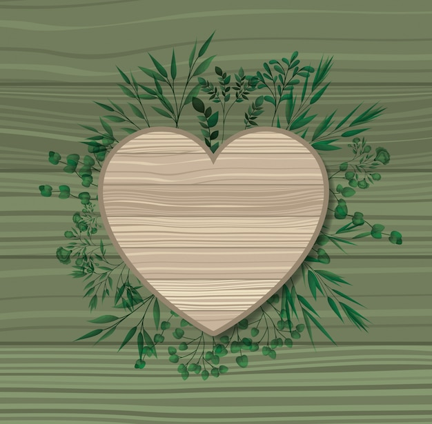 Heart frame with laurel leafs wooden background