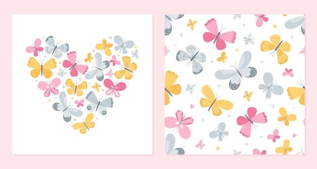 色とりどりの蝶とシームレスな背景からの心。バレンタインデーのポストカードテンプレート。