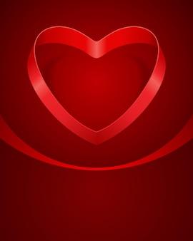 Открытка на день святого валентина в форме сердца из красной блестящей ленты