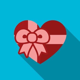 심장 선물 평면 아이콘 일러스트 절연된 벡터 기호