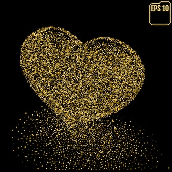 Heart of gold glittering dots dust trail