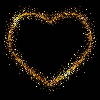 Heart of gold spangles on a black background
